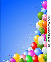 Ballons auf blauem Hintergrund.