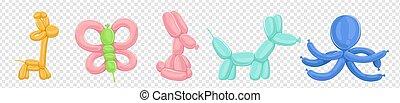 Ballons Tiere Vektor isoliert auf transparentem Hintergrund