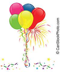 Ballons und Feuerwerk zum Feiern