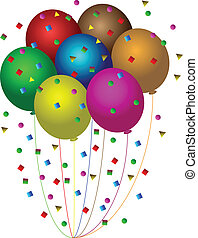 Ballons und Konfetti
