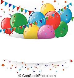 Ballons und Konfetti.