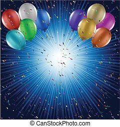 Ballons und Konfetti-Hintergrund