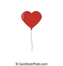 balloon, freigestellt, herz, weißes, luftballone, hintergrund., rotes