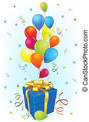 balloon, geburstagskarte, geschenk