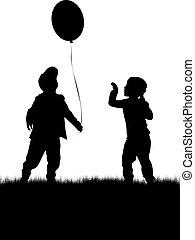 balloon., silhouette, kinder