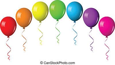 balloon, vektor, bogen, abbildung