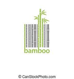 Bambus-Logo-Symbol stilisiert als Barcode.