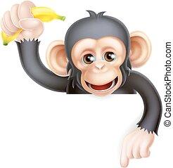 Banana-Chimp-Affen zeigen.