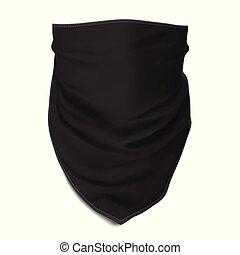 bandana, vector., auf., face., schwarz, verhöhnen, muskulös