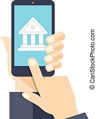 Bank App Seite auf Smartphone-Bildschirm