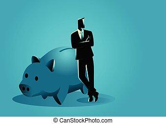 Banker lehnt sich auf riesige Sparschweine.