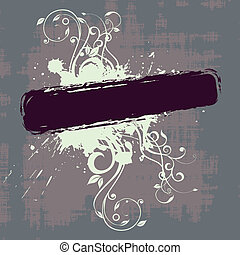 banner, abstrakt, grunge, blumen-