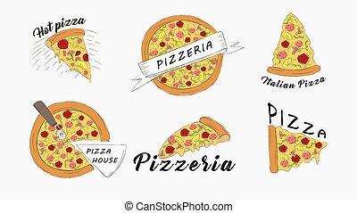 banner, cheese., italienische speise, scheiben, pizza, heiß, set., pepperoni, saftig, mozzarella, schnell, heiligenbilder