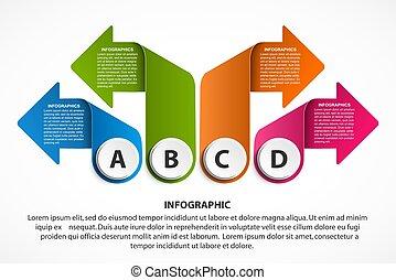 banner., geschaeftswelt, arrows., infographics, informationen, oder, darstellungen, schablone