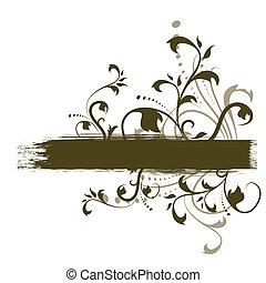 banner, grunge, abstrakt, dekorativ, blumen-, flieger, design, &