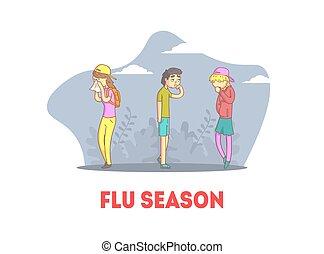 banner, leute, unwohl, gefühl, grippe, jahreszeit, haben, m�dchen, jugendlich, kalte , vektor, abbildung, knaben