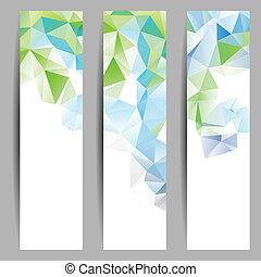 Banner mit abstrakten Dreiecken.