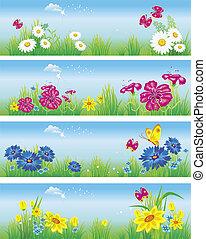 Banner mit Blumen auf der Wiese. Vektor Illustration