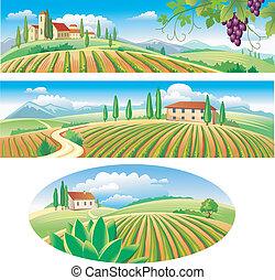 Banner mit der Agrarlandschaft