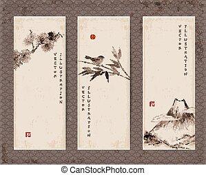 Banner mit Fuji , Vogel, Bambus , Kiefer