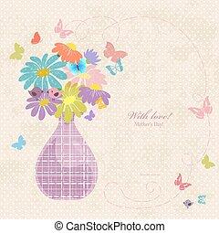 Banner mit süßer Vase von Daisy auf einem alten Papier für Ihr Design.
