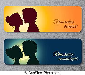 Banner mit Silhouetten von Küssen Paar