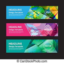 banner, schablone, abstrakt, hintergrund, bunte, design, vektor, polygon