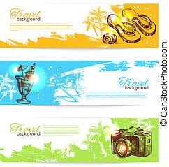Banner Set von Reisen bunten tropischen splash Hintergründen. Holoday Banner mit hand gezeichneten Zeichnungen
