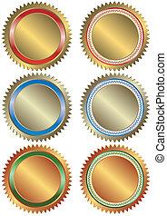 banner, silber, bronze, gold