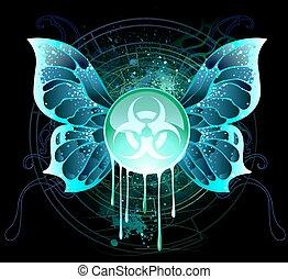 banner, symbol, biologisch, gefahr, runder
