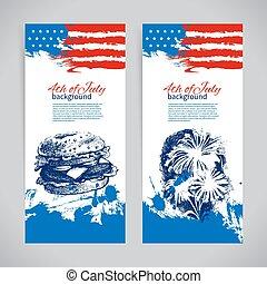 Banner vom 4. Juli Hintergrund mit amerikanischer Flagge. Hand gezeichnete Zeichnung des Unabhängigkeitstags