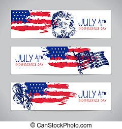 Banner vom 4. Juli Hintergrund mit amerikanischer Flagge. Unabhängigkeit