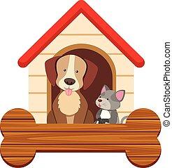 Banner Vorlage mit süßen Hund und Katze im Pethouse.