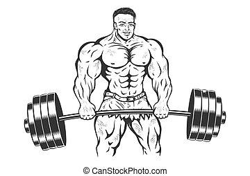 barbell., bodybuilder