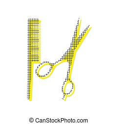 Barber-Ladenzeichen. Vector. Gelbe Ikone mit quadratischem Muster doppelt
