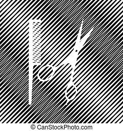 Barber-Ladenzeichen. Vector. Icon. Hole in moire Hintergrund.