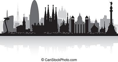 Barcelona spain City Skyline Silhouette.