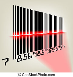 Barcode mit Laserlicht. EPS 8