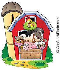 Barn mit verschiedenen Nutztieren