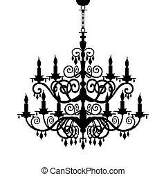 barock, kronleuchter, silhouette
