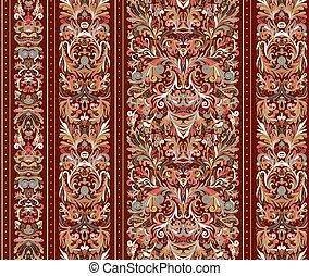 barock, muster, illustration., vektor, gestreift, style., damast, bunte, wallpaper., hintergrund., blumen-, seamless, vinous