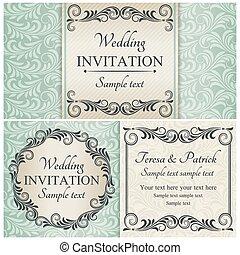 Barocke Hochzeitseinladung eingestellt, blau.