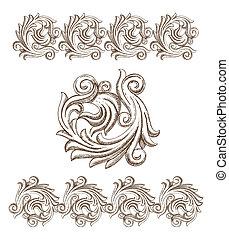 Barockelemente, von Hand gezeichnet