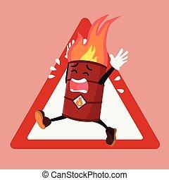 Barrel brennbare Warnzeichen.