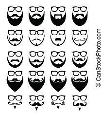 Bart und Brille, Hipster Ikonen.