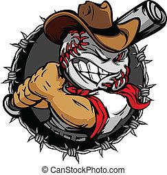 baseball, cowboy, holdin, karikatur, gesicht