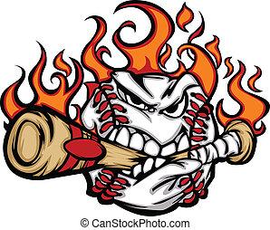 Baseball-Flaming-Gesicht, die Fledermaus.