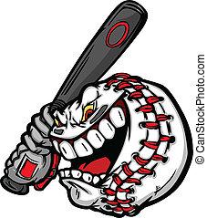 Baseball mit Cartoon-Gesicht, schwingendes Batvektor-Bild