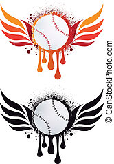 Baseball mit Feuerflügeln, Vektor