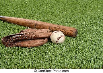 Baseball mit Handschuh und Fledermaus.